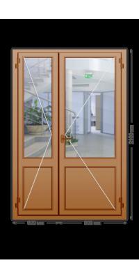 Алюминиевая дверь «теплая» двухстворчатая с нажимной гарнитурой
