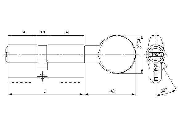 Цилиндровый механизм с вертушкой 164 BM/68 26+10+32 mm латунь 5 кл.