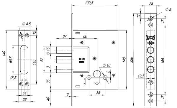 Корпус замка врезного цилиндрового 257 w/b никель