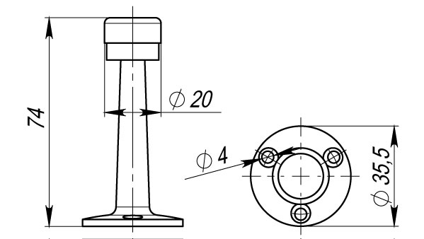 Упор дверной настенный DH033ZA CP Хром