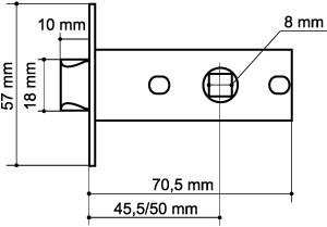 Защелка врезная LH 120-45-25 SC Мат. хром SKIN /прям/