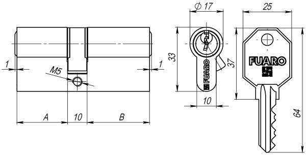 Цилиндровый механизм 100 CA 70 mm (30+10+30) PB латунь 3 кл.