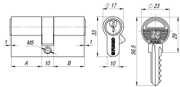 Цилиндровый механизм 100 ZA 60 mm (25+10+25) CP хром 5 кл.