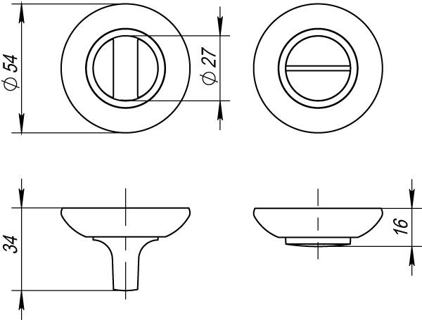 Ручка поворотная BK6 RM SN/CP-3