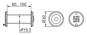 DVZ2, глазок, 16/200/60x100 оптика пластик, угол обзора 200 CP Хром