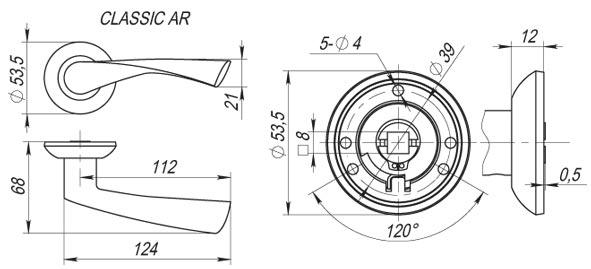 Ручка раздельная CLASSIC AR SG/GP-4 матовое золото/золото, квадрат 8x130 мм