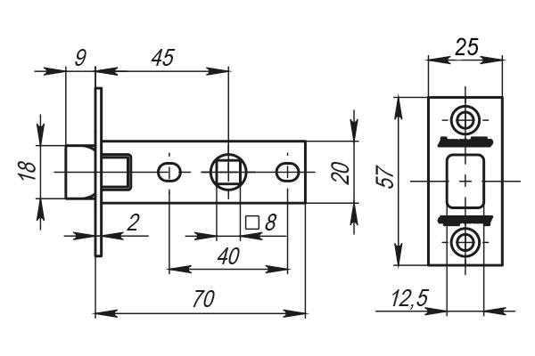 Защелка врезная LH 120-45-25 SN Матовый никель BOX /прям/