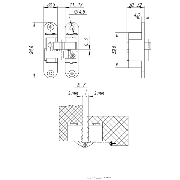 Петля скрытой установки с 3D-регулировкой Architect 3D-ACH 40 SG Матовое золото прав. 40 кг