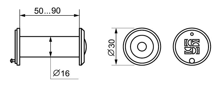 DVZ3, 16/200/50x90 (оптика пластик, угол обзора 200) CP Хром