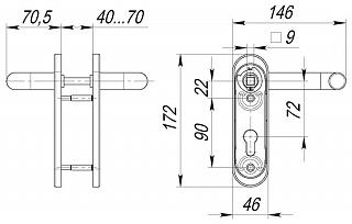 Ручка дверная DH-0433/GR NE СЕРАЯ с пружиной для замка FL-0432, 0433, 0434, НЕЙЛОН