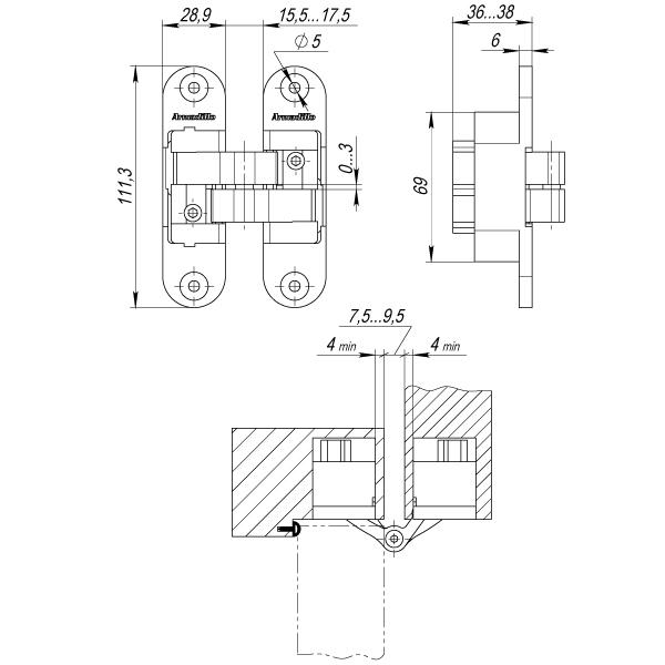 Петля скрытой установки с 3D-регулировкой Architect 3D-ACH 60 AB Бронза лев. 60 кг