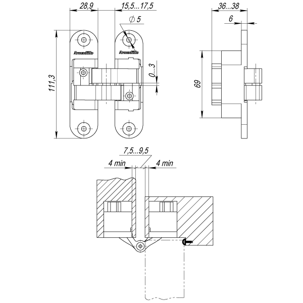 Петля скрытой установки с 3D-регулировкой Architect 3D-ACH 60 AB Бронза прав. 60 кг