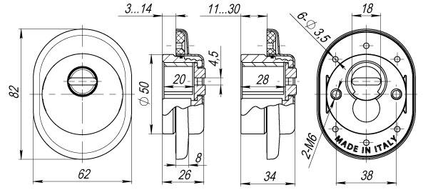 Броненакладка на ЦМ от вырывания, 25 мм ET/ATC-Protector 1-25AB-77 Бронза box