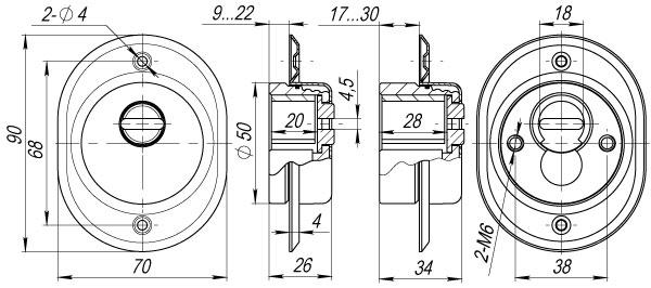 Броненакладка на ЦМ/сквозн. крепл. от вырывания, 33 мм ET/ATC-Protector 2-33CP-8 Хром box