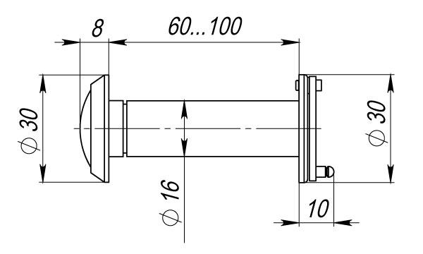 Глазок дверной, стеклянная оптика DVG3, 16/60х100 GP Золото
