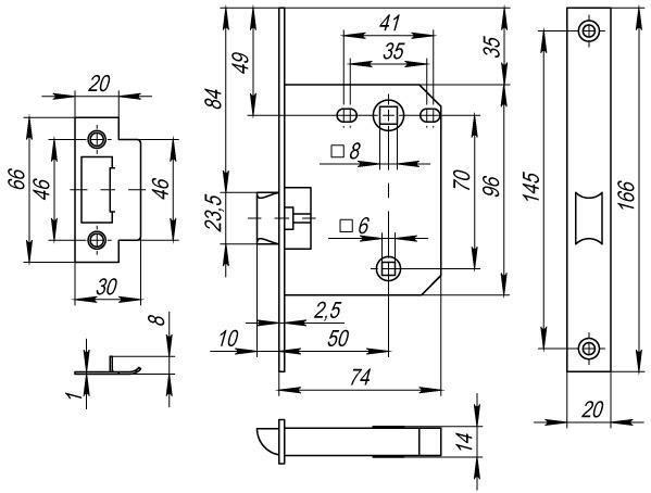 Защелка врезная PLASTIC P72-50 AB бронза