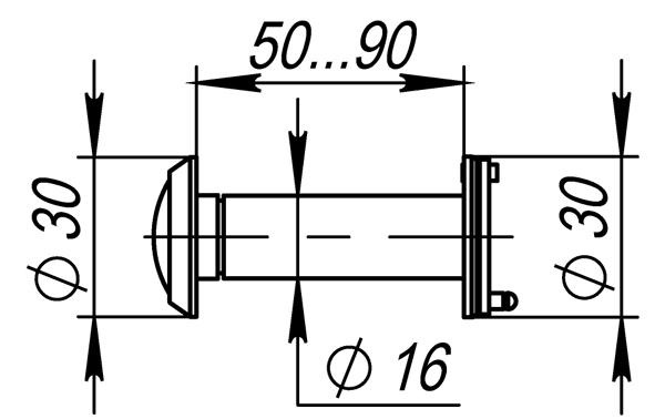 DVZ3, 16/200/50x90 (оптика пластик, угол обзора 200) AB Бронза