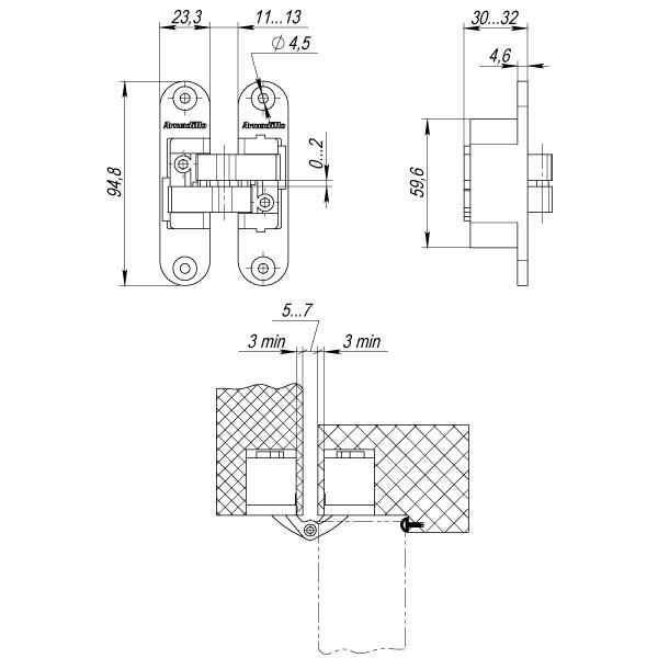 Петля скрытой установки с 3D-регулировкой Architect 3D-ACH 40 CP-8 Хром прав. 40 кг