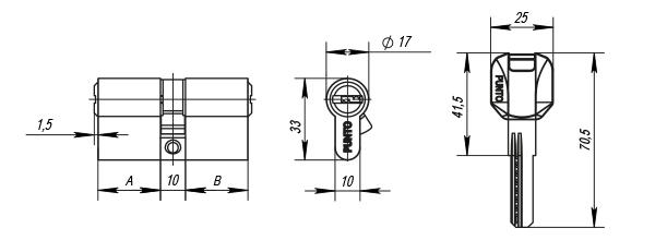 Цилиндровый механизм Z400/70 mm 25+10+35 CP хром 5 кл.