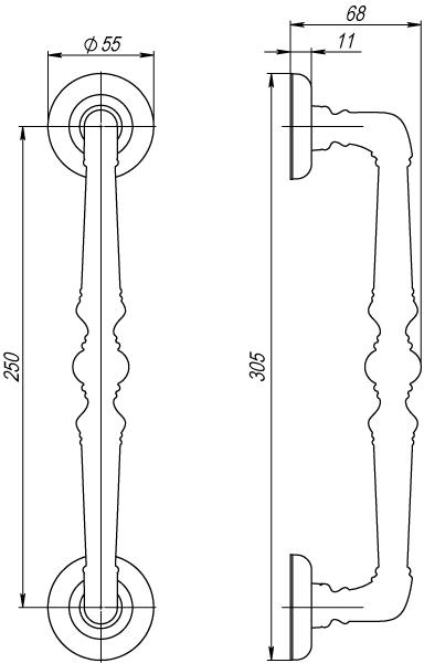 Ручка-скоба PALAZZO PULL SM AB-7 матовая бронза 1 штука