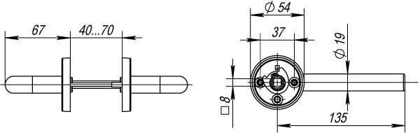 Ручка раздельная DSS-0201/19 (нержавейка), квадрат 8x110 мм