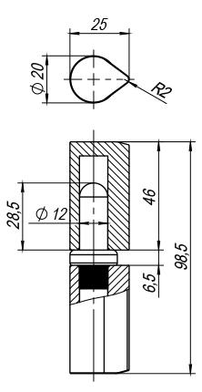 Петля приварная Т1254/100х20x25 мм с подшипником