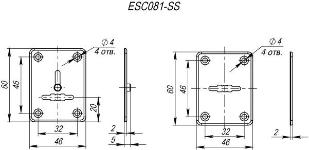 "Декоративная накладка ESC081-SS (нержавейка) на сув. замок (1 пара) ""2"""