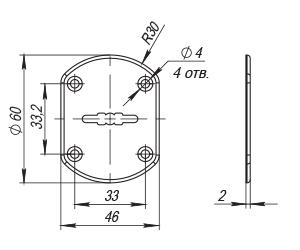 Декоративная накладка ESC021/0-SS (нержавейка) на сув. замок без шторки (1 шт.) тех.упак.