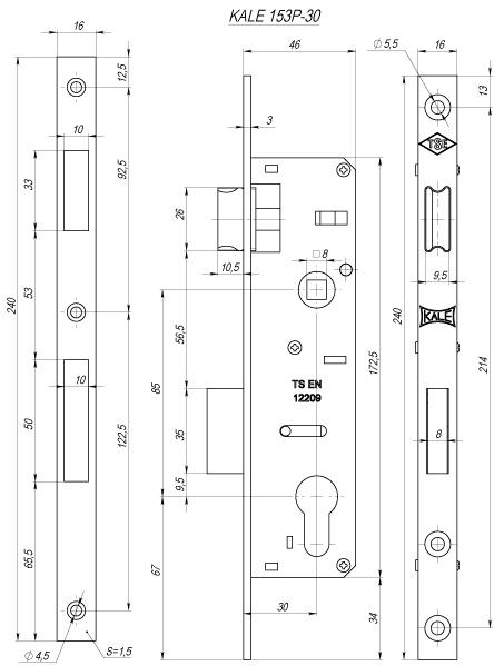 Корпус замка врезного цилиндрового узкопроф.153/P 30 mm w/b никель