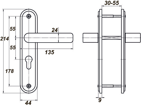 Ручка дверная для ЗВ4 НР0901 (плоская) медный антик