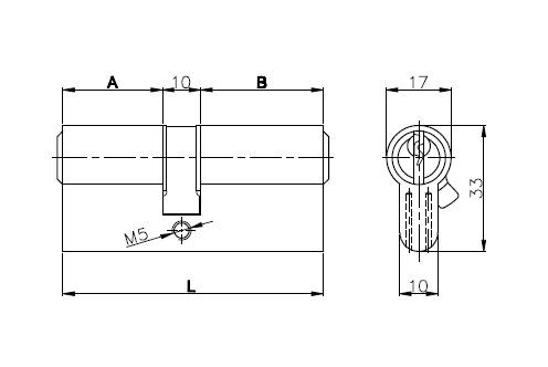 Цилиндровый механизм 164 GN/80 35+10+35 mm латунь 3 кл.