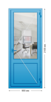 Алюминиевая дверь «холодная» одностворчатая с нажимной гарнитурой