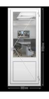 Пластиковая дверь «KBE» одностворчатая с нажимной гарнитурой