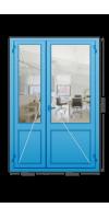 Алюминиевая дверь «холодная» двухстворчатая с нажимной гарнитурой