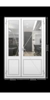 Пластиковая дверь «KBE» двухстворчатая с нажимной гарнитурой