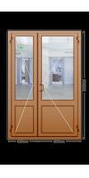 Алюминиевая дверь «теплая» двухстворчатая с ручкой «скоба»