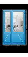 Алюминиевая дверь «холодная» двухстворчатая с ручкой «скоба»