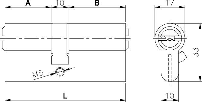 Цилиндровый механизм 164 BN/74 32+10+32 mm латунь 5 кл.