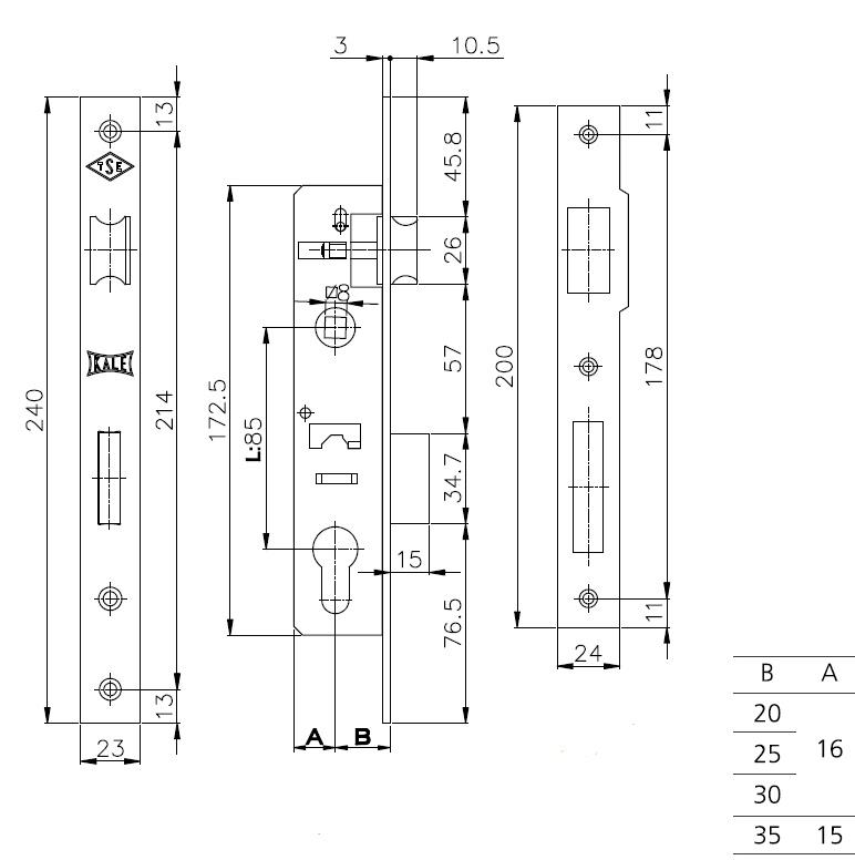 Корпус замка врезного цилиндрового узкопроф.153 35 mm w/b никель