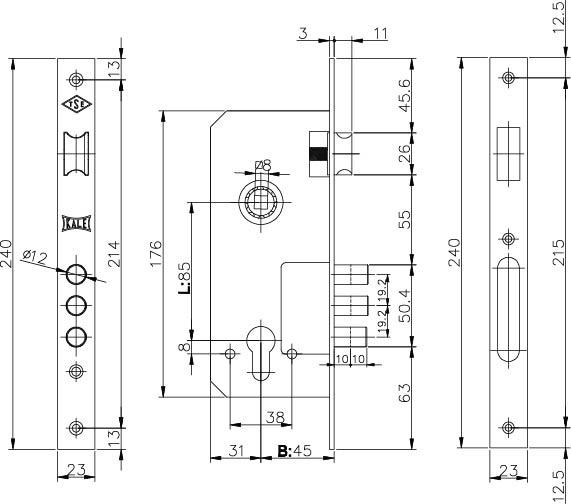 Корпус замка врезного цилиндрового 152/3MR 45 mm w/b латунь