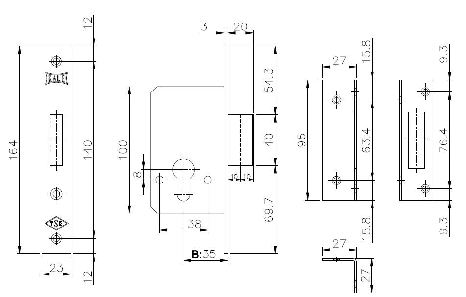 Корпус замка врезного цилиндрового 157 35 mm w/b латунь