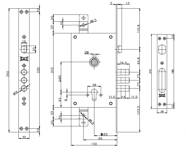 Корпус замка врезного цилиндрового 352/R w/b никель с крепл под тяги