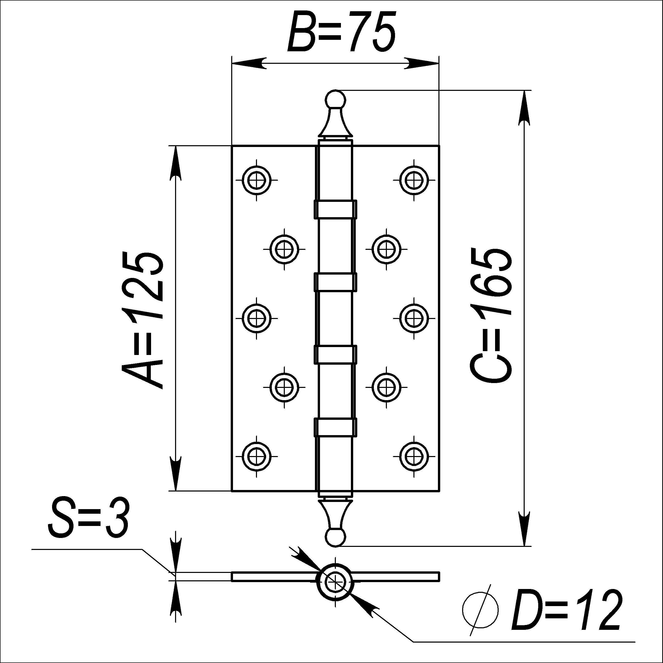 Петля универсальная 500-A5 125х75х3 PN Перламутровый никель Box