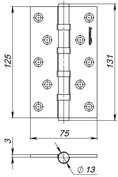 Петля универсальная 500-C5 125х75х3 AB Бронза Box