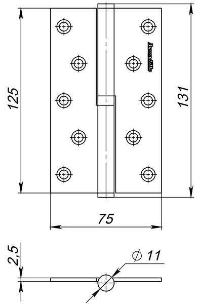 Петля съемная 613-5 125х75х2.5 PN Перламутровый никель прав. Box
