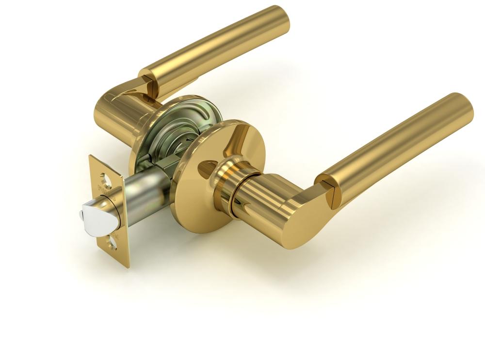 Ручка защелка  883 SB\PB-P мат. золото/золото без. фик.