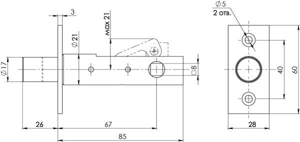 Задвижка врезная DB 867 CP хром 67мм