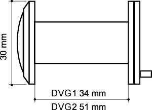 Глазок дверной, стеклянная оптика DVG2, 16/55х85 GP Золото
