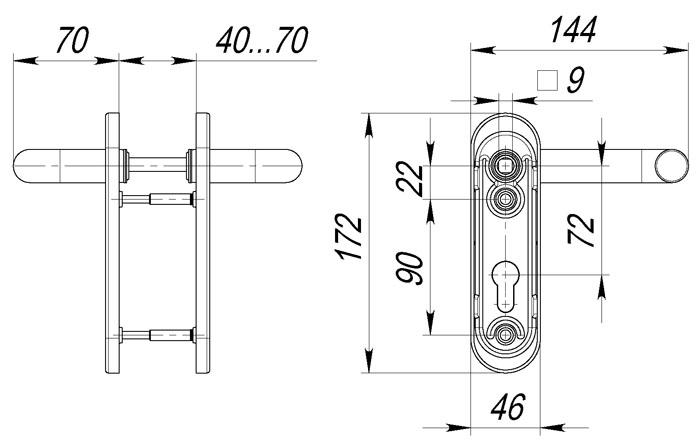 Ручка дверная DH-0431 NE ЧЕРНАЯ для замка FL-0432, 0433, 0434, НЕЙЛОН