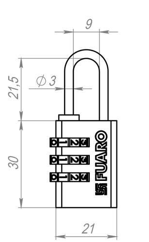 Замок навесной кодовый PL-3521 (21 мм) 3 кл. БЛИСТЕР
